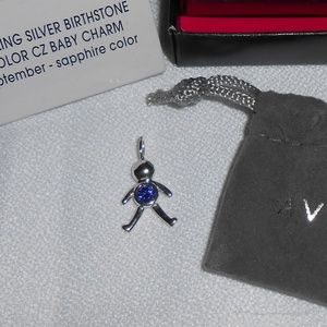 NIB SS Necklace & Birthstone Baby Charm, September
